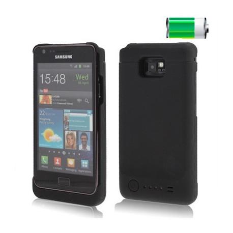 Image of   2200mAh super tynde mobil strøm batteri med sikkerheds etui for Samsung Galaxy S2 / i9100 (sort)