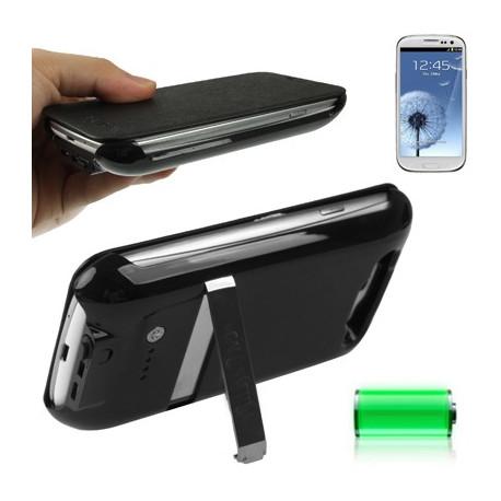 Image of   2600mAh bærbare magt bank, ekstern batteri, læderetui med holder til Samsung Galaxy S III / i9300 (sort)