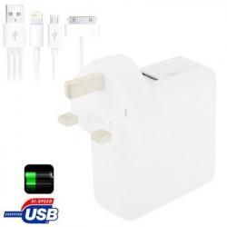 UK Plug 6000mAh ekstern batteri / strøm bank med 30 Pin/Micro 5 Pin USB opladning kabel