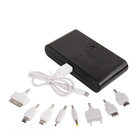 Image of   20000mAh, Dual-USB smart mobil strøm bank ekstern batteri med ni former for stik til iPhone 5/ 4&4S / nye iPad/iPad 2/
