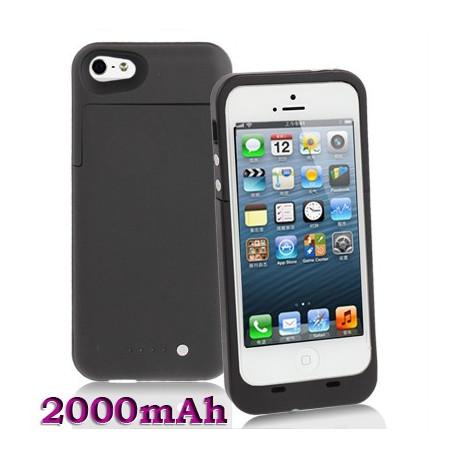 Image of   2000mAh fint matte overflade, aftagelig strøm bank, ekstern batteri til iPhone 5 (sort)
