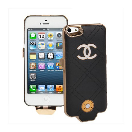 Image of   2500mAh chanel stil gitter tekstur med indsæt mærkat, ekstern batteri til iPhone 5 (sort)