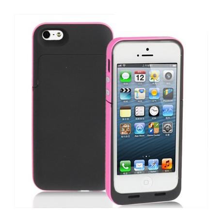 Image of   2200mAh fint matte overflade, strøm bank, ekstern batteri til iPhone 5 (Magenta)