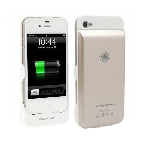 Image of   2350 mAh strøm bank, ekstern batteri taske til iPhone 4 & 4S (Khaki)