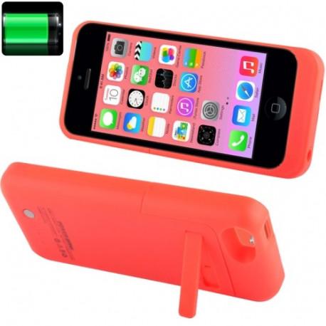 Image of   2200mAh udvidet batteri med etui, strøm bank og holder til iPhone 5C lyserøde