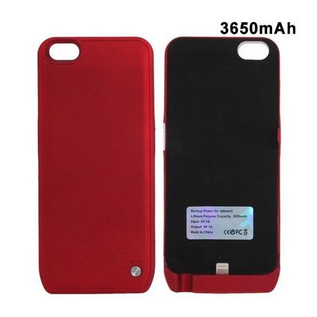 Image of   3650mAh yderste slankt etui sikkerheds eksterne batteri / strøm bank for iPhone 5 (Rød)