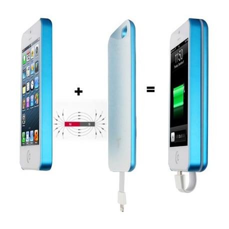 Image of   2800mAh Magnetlås adsorptionsfyldning teknologi, mobil strøm bank for iPhone 5 & 5S (Blå)
