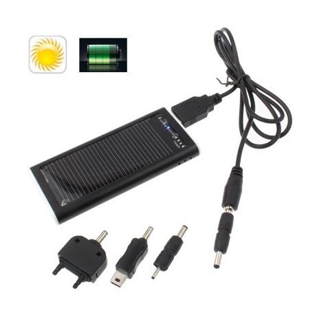 Image of   1200mAh soloplader & strøm bank med ekstern batteri til iPhone / iPad / iPod / Nokia og andre Mobiltelefoner (Sort)