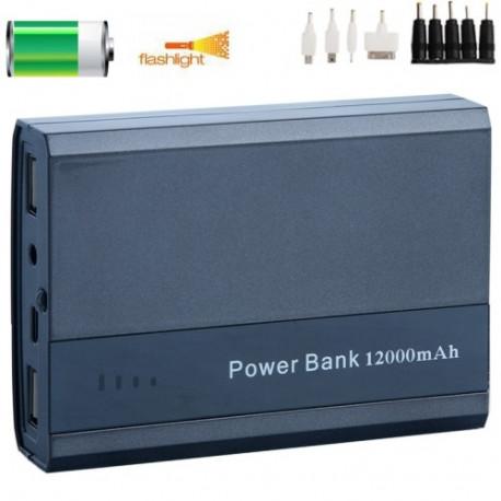 Image of   12000mAh mobil strøm bank/ ekstern batteri med LED Flash & 8 slags stik til Laptop / iPad / iPhone