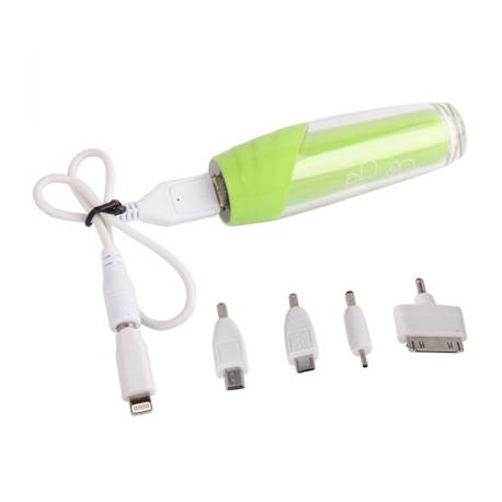 Image of   2500mAh smarte mobil strøm bank/ ekstern batteri med fem slags Stik til iPhone 5/4 & 4S og andre mobiltelefoner (Grøn)