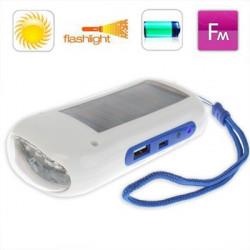 Mini sol lommelygte radio med opladning funktion