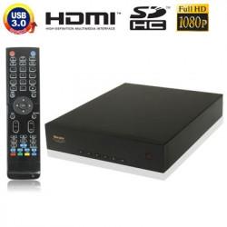 1080p Full HD medieafspiller med RJ45 + HDMI grænseflade, støtte indvendig 3,5 tommer SATA-harddisk & SD-kortlæser