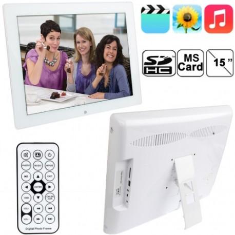 Image of   15 tommer 1024x768 / 4: 3 LCD digital billedramme med Holder & fjernbetjening, støtte SD / MMC / MS-kort og USB (1513N), Hvid