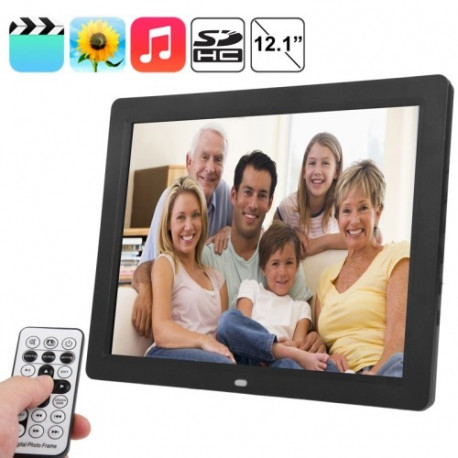 Image of   12.1 tommer TFT LCD skærm multimedie digital fotoramme med musik & filmafspiller / fjernbetjening Funktion