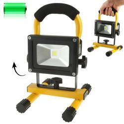 10W Vandtæt genopladelige lysdiode/bærbar lysdiode oversvømmelse lyset med beslag, DC 12 / 24V (gul)