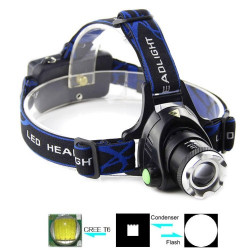 1 x Cree XM-L T6 3-tilstand vandtæt, justerbar fokus med zoom funktion LED lommelygte / pandelampe