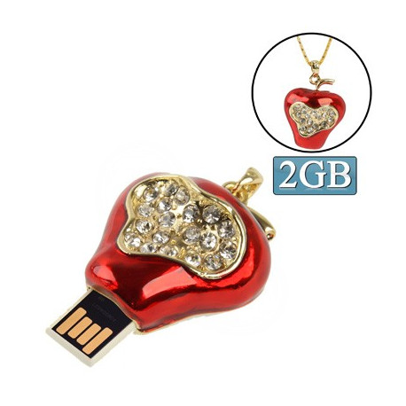 Image of   Jordbær formet diamant smykker stil USB Flashdisk (2 GB)