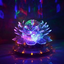 6W stemme kontrolleret, automatisk roterende, lotus party etape lampe, 48 + 3 LED RGB fire farve lyset gennemsigtig