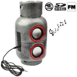 Benzintanken stil, lille mobil lyd med højttaler funktion (sølv)