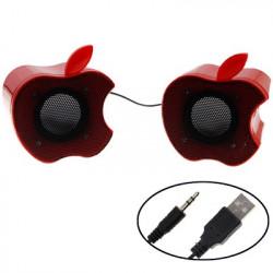 IF-9 æble stil USB 2.0 lille computeren stereo højttaler (rød)