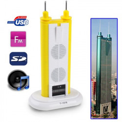 Di Wang bygningen stil, mobil multimedie 3D stereo lyd USB højttaler MP3 , understøtter USB flash disk og SD-kort T-1016, (Gul)