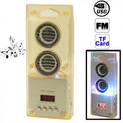 Mini kortlæser højttalere med FM-radio og farverige lys, støtte TF kort