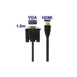 HDMI 1.3 Kabel: VGA til HDMI kabel, Længde: 1,8 m