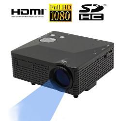 PRJ-BL18 Sort, 60 Lumens mini projektor, støtte AV / VGA / USB / SD / HDMI flere grænseflade