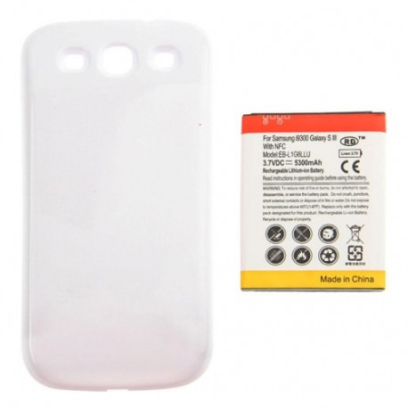 Image of   5300mAh NFC Mobiltelefon Batteri & Cover Bagklap til Sumsung Galaxy S III / i9300 ( hvid)