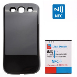 Link drøm High Quality 5000mAh Mobiltelefon Batteri med NFC & Cover til Samsung Galaxy SIII/i9300 (Sort)