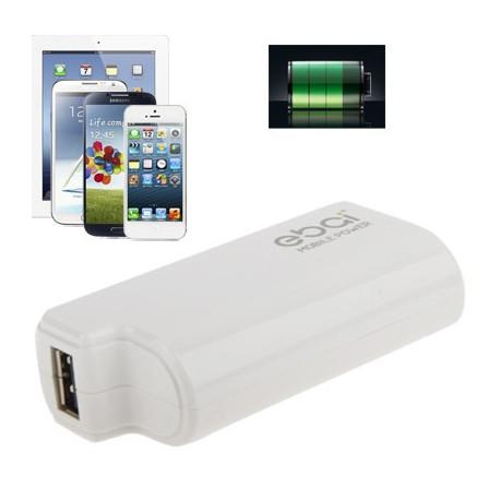 Image of   2400mAh professionale strøm bank, ekstern batteri til iPhone 5/4 & 4S / iPad Mini og andre mobiltelefoner (hvid)