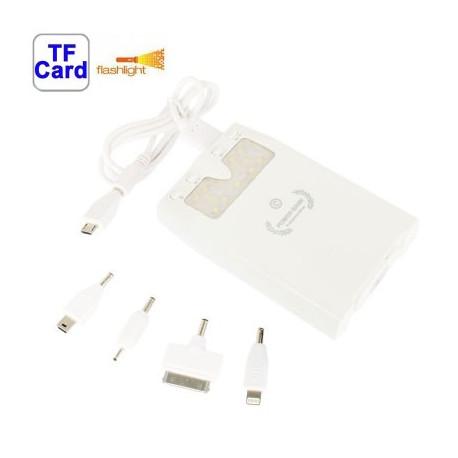 Image of   10000mAh multi funktion strøm bank, ekstern batteri med 11-LED lys ,støtte MP3 & TF kort slot (hvid)
