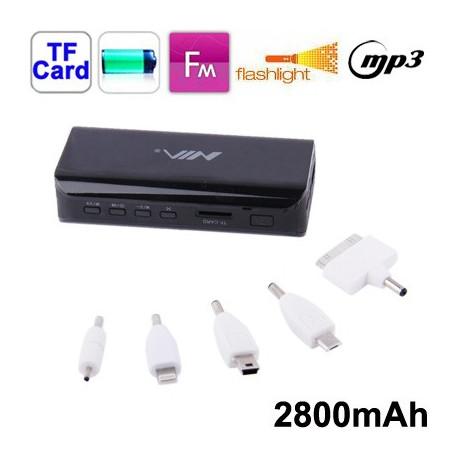 Image of   2800mAh 5 i 1 mobil strøm bank med strøm vis funktion til iPhone 5 / iPhone 4 & 4S