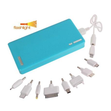 Image of   15000mAh Dual-USB smarte mobil strøm bank, ekstern batteri med lommelygte til iPhone 5/4 & 4S / New iPad