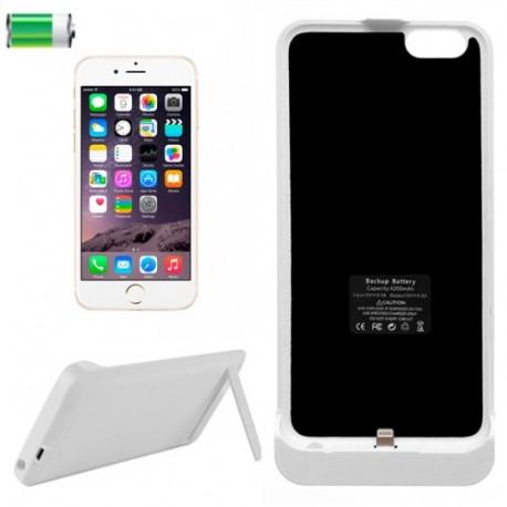 Image of   3 i 1 4200mAh genopladeligt ekstern reserve batteri / strøm bank etui med holder til iPhone 6 Plus (hvid)