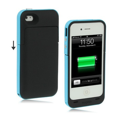 Image of   2000mAh juice pakke plus, udendørs udgave, genopladeligt ekstern batteri med taske til iPhone 4 & 4S (blå)