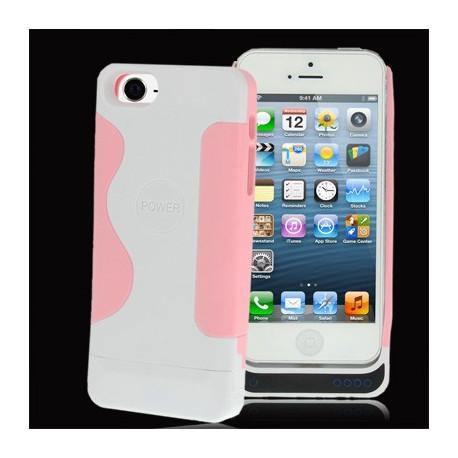 Image of   2200mAh blød plast overflade med silikone ramme, ekstern batteri strøm pakke til iPhone 5 (lyserød)