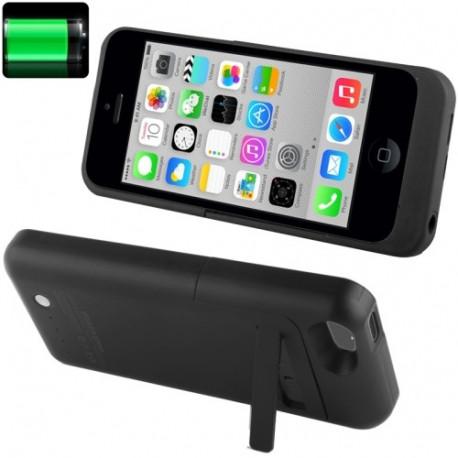 Image of   2200mAh 8 Pin eksisterede batteri etui / strøm bank med holder til iPhone 5C (sort)