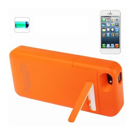 Image of   2200mAh aftagelig glat overflade etui, ekstern batteri med holder til iPhone 5 (orange)