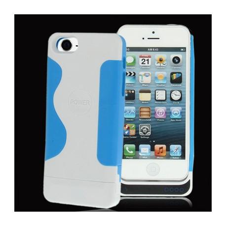 Image of   2200mAh glat plast overflade, med silikone ramme, ekstern strøm pakke til iPhone 5 (blå)