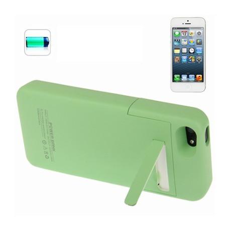 Image of   2200mAh flytbar glat overflade etui, sikkerheds ekstern batteri med holder til iPhone 5 (Grøn)