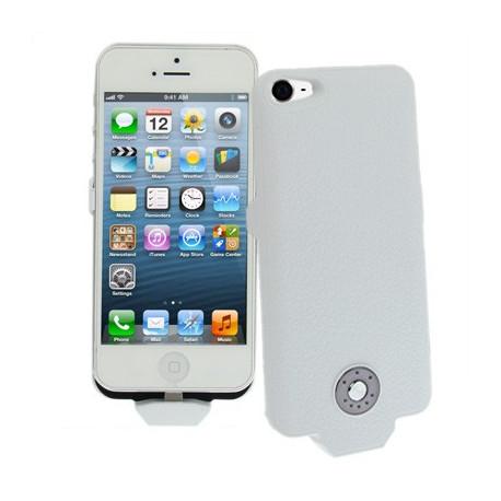 Image of   2500mAh Litchi tekstur ekstern batteri, strøm pakke til iPhone 5 / 5C / 5S (hvid)