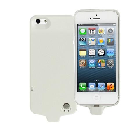 Image of   2800mAh Litchi tekstur strøm bank / eksternt batteri med skjult holder til iPhone 5 (hvid)