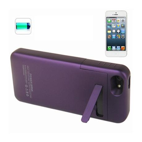 Image of   2200mAh flytbar glat overflade, etui sikkerheds strøm, ekstern batteri med holder til iPhone 5 (mørk lilla)