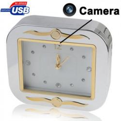 Sølvfarvet ur med spionkamera