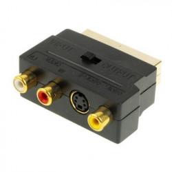 RGB Scart Mand the 3 RCA AV Kvinde adapter Konverter (forgyldt)