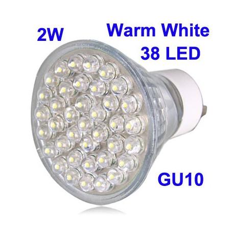 2W 38 LED High Quality LED Energy Saving Spotlight Bulb, Base type: GU10 (varm hvid)