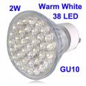 2W 38 LED høj kvalitets LED energispare Spotlight pære, Base type: GU10 (varm hvid)