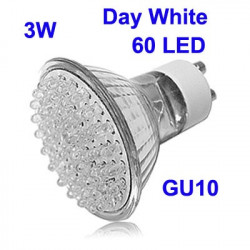 3W 60 LED High Quality LED Energy Saving Spotlight Bulb, Base type: GU10 (Day White)