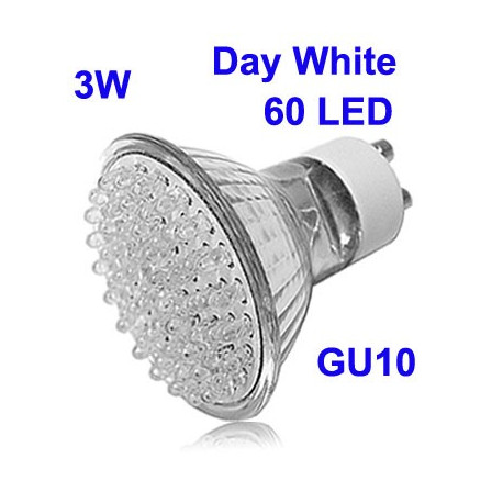 Image of   3W 60 LED High Quality LED Energy Saving Spotlight Bulb, Base type: GU10 (Day White)